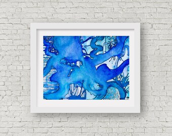 Abstract Blue Watercolour, Giclee Fine art print