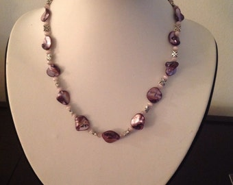 Dyed purple shell necklace