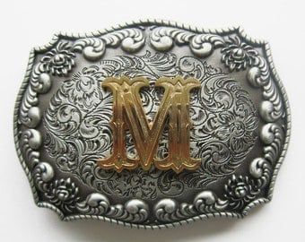 """Initial Letter """"M"""" Western Cowboy Rodeo Belt Buckle"""