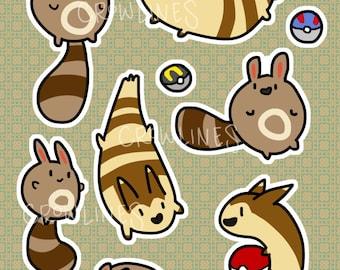 Sentret and Furret Sticker Sheet
