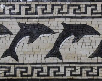 Repetitive Dolphins Greek Border Bathroom Pool Design Marble Mosaic AN1227
