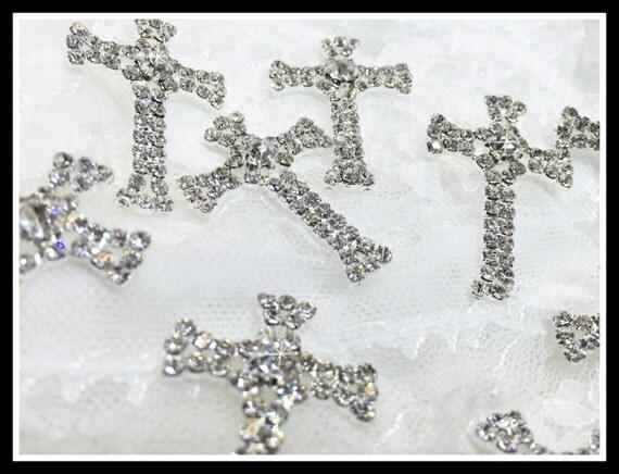 12 pcs Small Rhinestone Crosses/First communion/baptism/Favor boxes/Invitations #0166