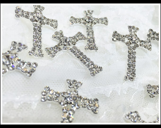 12 pcs Small Rhinestone Crosses/First communion/baptism/Favor boxes/Invitations #0166