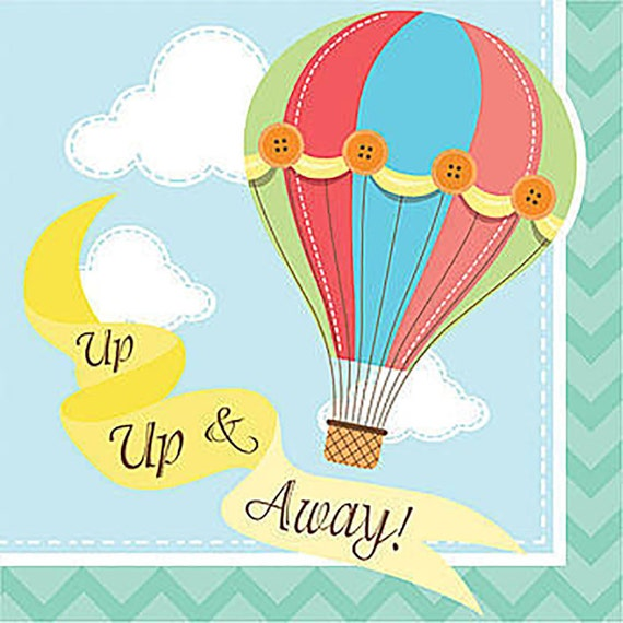 hot air balloon cocktail napkins up up and away baby shower. Black Bedroom Furniture Sets. Home Design Ideas
