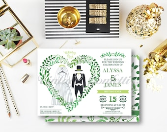 Organic Bride & Groom Wedding Invitation