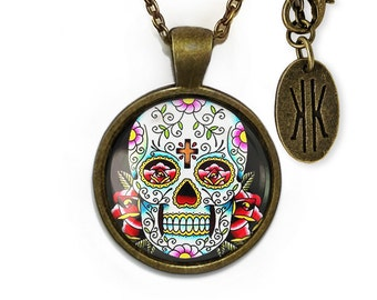 Antique Bronze Day of the Dead Sugar Skull Glass Pendant Necklace 55-BRPN