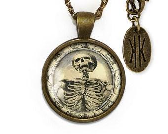 Antique Bronze Gothic Memento Mori Victorian Skeleton Glass Pendant Necklace 131-BRPN