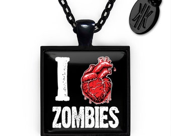 Jet Black I Love Zombies Glass Horror Pendant Necklace 111-JBSPN