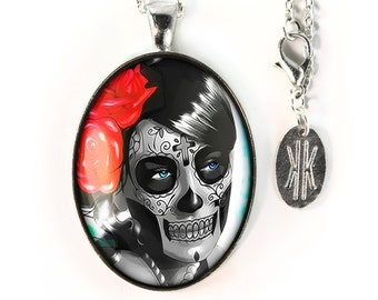 Large Silver Day of the Dead Sugar Skull Girl Glass Pendant Necklace 62-SLOPN