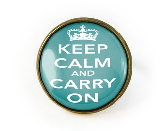 """Antique Bronze Vintage """"Keep Calm and Carry On"""" Glass Adjustable Ring 290-BRR"""