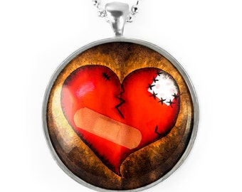 Large Silver Gothic Broken Zombie Emo Heart Glass Horror Valentines Pendant Necklace 135-SLRN