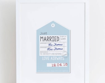 Personalised Wedding Luggage Tag Print