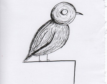 Lonely Bird Ink Drawing A4