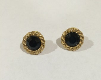 80's Vintage Black and Gold tone earrings, Black and Gold tone earrings,