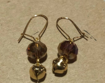 Champagne earrings with bells