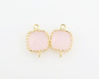 G000110C/Ice Pink /Gold plated over brass/Tooth Framed square faceted glass connector/9mm x 13.4mm/2pcs