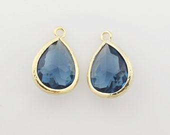 G000309P/Montana/Gold plated over brass/Drop faceted glass pendant/11.4mm x 17.1mm /2pcs