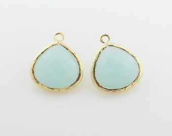 G000602P/Alice Blue/Gold plated over brass/Pear shape framed faceted glass pendant/16mm x 18.5mm/2pcs