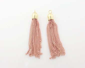 T000401/Light Pink/Gold plated over brass cap +painted Chain/Painted chain tassel pendant/6mm x 45mm approx/2pcs