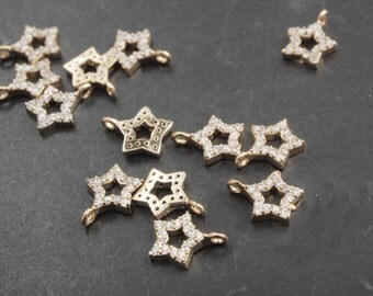 P0150/Anti-Tarnished Gold Plating Over Brass/Punched Cubic Zirconia Star pendant /7 x9mm/1pcs