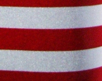 US Flag Striped Swimwear Fabric by the Yard with 1 Inch Wide Red and White Stripes in Shiny Polyester Spandex