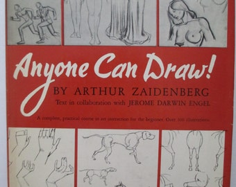 Anyone Can Draw by Arthur Zaidenberg Hardcover, 1939 How to Draw, Instruction