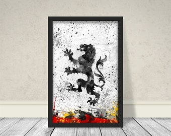 House Lannister Inspired Art, Watercolor Lannister, Game of thrones Art, Game of thrones Watercolor
