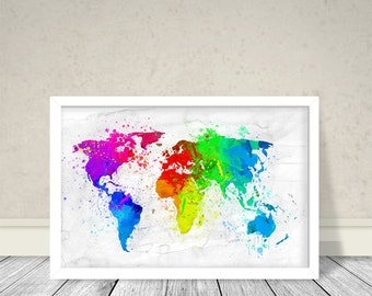 World Map Watercolor, Instant download, World Map Colors, Map with colors
