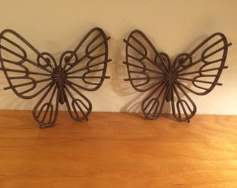 Pair of 1977 Brown Plastic Butterfly Wall Hangings Made by Burwood Products Co.