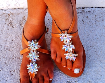 Genuine leather sandals decorated with Swarovski crystals