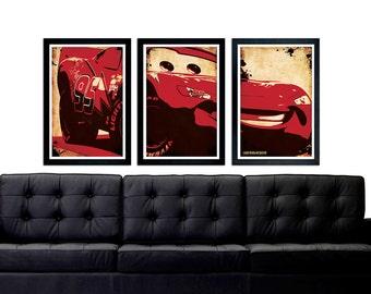 Cars Lightning McQueen Poster Set, Lightning McQueen Car Set