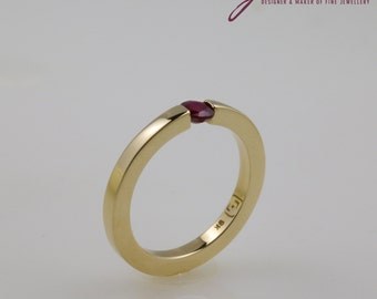9 ct. Yellow Gold and Ruby Tension Setting Modern Ring