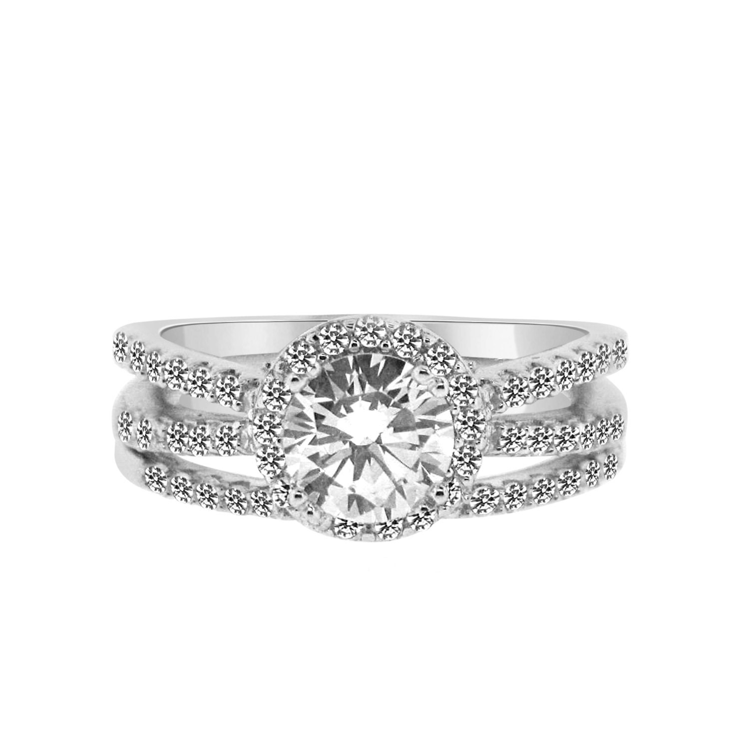 1 Carat CZ Engagement Ring With Wedding Band Split Shank