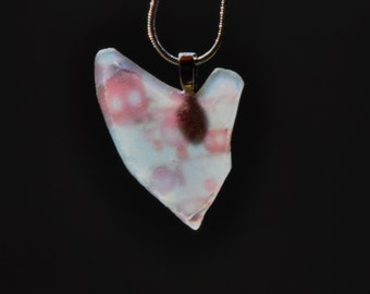 Natural seaglass beach necklace, Image transfer on heart shaped seaglass pendant necklace