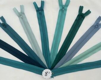 8 Inch YKK #3 Nylon Coil Closed-Bottom Zipper Lot of 10: Blue