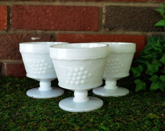 Vintage  Set of Three Low Pedestal Grape Milk Glass Dishes - Cordial Glasses - Sorbet Cups