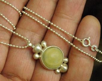 Vintage Handmade Sterling Silver & Floride Necklace Pendant