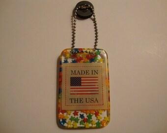 USA resin magnet, made inUSA refrigerator magnet, handmade USA magnet,stars magnet,multicolored magnet, usa refrigerator magnet (item#223)