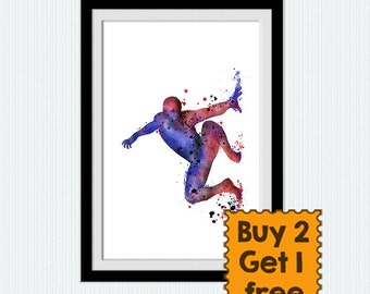 Spider man poster, watercolor print, superhero poster, colorful silhouette, home decor, archival print, abstract painting wall art, W752