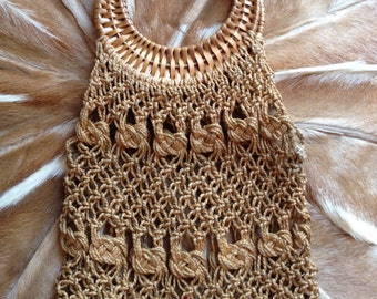 1970s Macrame wicker shopper bag