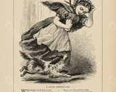 Victorian Girl and Dog Run an Errand Digital Download Image from Antique Print 1800's Illustration Printable Art