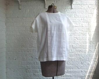 vintage 70s eggshell linen diamond criss-cross tunic top