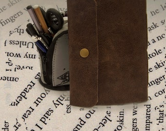 A6 Leather journal with snap fastener