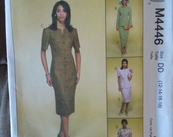 Sewing pattern McCall's 4446 Misses' lined jacket, lined dresses and skirt new uncut size 12 to 18