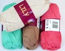 Mercerized Cotton yarn Set of 5 skeins LILY 100% mercerized cotton by Vita Cotton / Yarn knitting crochet 125m 50g Summer soft yarn