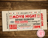 Movie Night Invitation - Vintage Ticket Style Birthday Boy Girl Twins, Adult Party Outdoor, Popcorn Theater Typography Digital Printable DIY