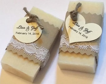 25 Lace Rustic Wedding Favors 1.0 oz bars - Custom Handmade Cold Process Soap Favors 1 oz.