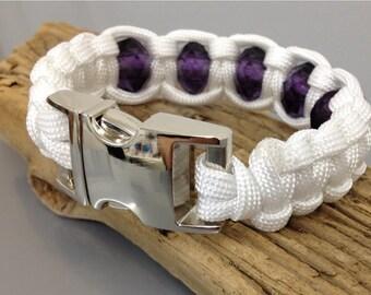 Paracord bracelet, Purple crystal bracelet, crystal bracelet, Paracord jewellery, Survival bracelet, White and purple paracord bracelet