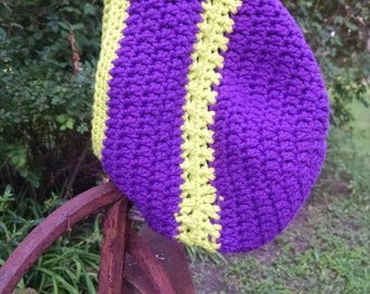 Slouchy purple and neon green crochet beanie