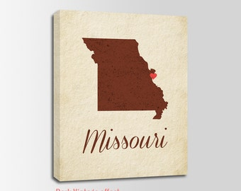 Missouri Canvas Print, Missouri Vintage Print, Missouri Map, Personalized Art, Wall Decor, Vintage Map, Nursery Art, USA